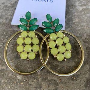 2/$16 Rickis Pineapple Gold Toned Stud Earrings